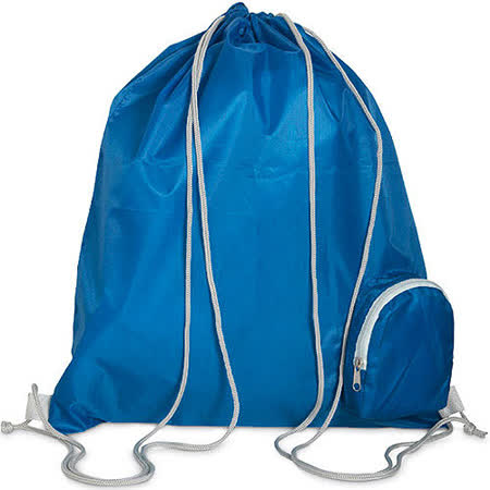 《VOYAGER》附前袋束口後背袋(藍)