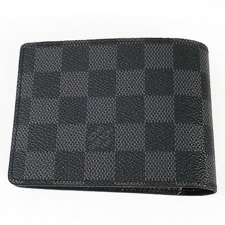 Louis Vuitton LV N62663 黑棋盤格MULTIPLE雙折簡約短夾(黑灰)-現貨