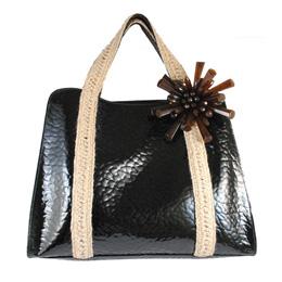 Marc Jacobs 時尚質感亮面蛇紋花飾手提大公事包.黑