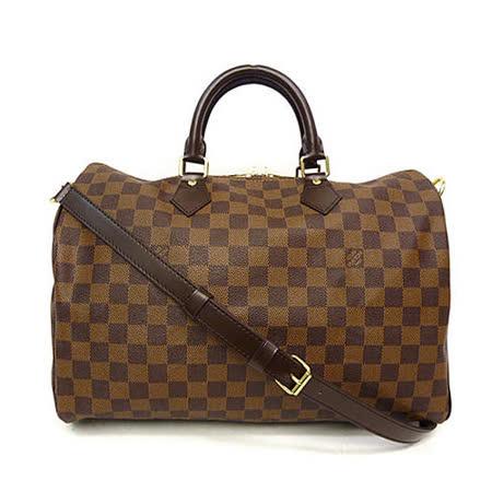 【網購】gohappyLouis Vuitton LV N41366 N41182 Speedy 35 棋盤格紋附背帶手提包_預購評價板橋 大 遠 百 週年 慶 時間