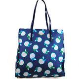 MIU MIU 歐美時尚浮雕LOGO彩繪織布皮肩帶購物袋.藍