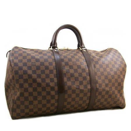 Louis Vuitton LV N41427 Keepall 50 咖棋盤手提旅行袋_預購
