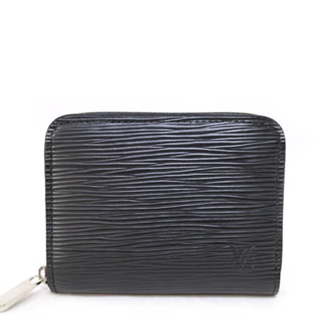 Louis VuittonLV M60152 EPI 質感皮革壓紋信用卡拉鍊零錢包.黑_預購