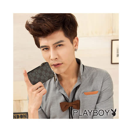 PLAYBOY-P-Checkerboard 系列零錢鑰匙包-黑色