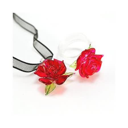 【伊飾童話】熱戀凡爾賽*琉璃花緞帶項鍊/戒指組