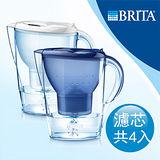 【德國BRITA】Marella XL馬利拉(藍/白兩色)濾水壺+MAXTRA三入濾芯