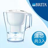 【德國BRITA】Aluna XL 3.5公升愛奴娜型透視型濾水壺+2芯(共3芯)