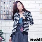 【KVOLL大尺碼】黑白魚鱗波紋長袖開衫小外套