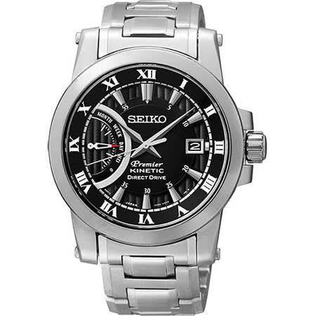 SEIKO Kinetic 互動式人動電能時尚腕錶-黑/銀 5D22-0AD0D