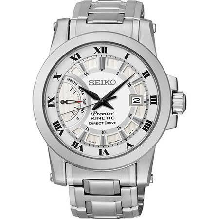 SEIKO Kinetic 互動式人動電能時尚腕錶-銀 5D22-0AD0S