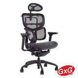 吉加吉 GXG Furniture 至尊系列 人體頂級工學網椅 主管椅 鋁合金材質(消光黑鋁合金黑色) DIY組裝