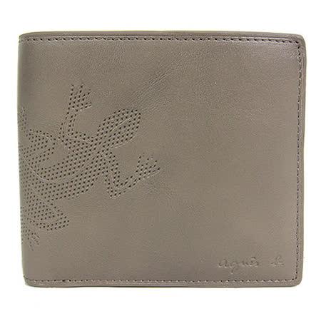 agnes b 蜥蜴壓紋皮革短夾(卡其)(附零錢袋)