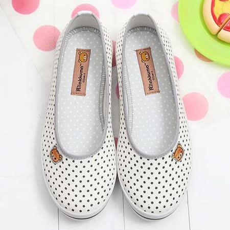 【童鞋城堡】Rilakkuma拉拉熊小icon馬卡龍白色帆布休閒鞋{台灣製造}KM8211