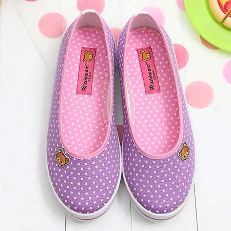 【童鞋城堡】Rilakkuma拉拉熊小icon馬卡龍紫色帆布休閒鞋{台灣製造}KM8211