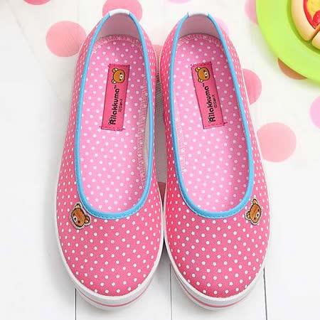 【童鞋城堡】Rilakkuma拉拉熊小icon馬卡龍桃色帆布休閒鞋{台灣製造}KM8211