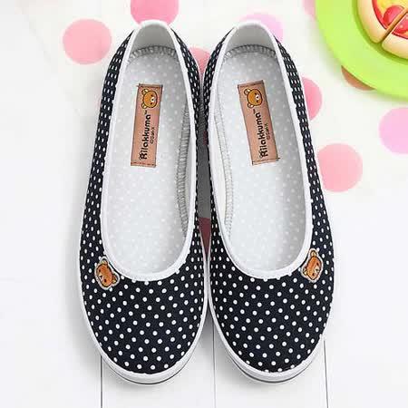 【童鞋城堡】Rilakkuma拉拉熊小icon馬卡龍藍色帆布休閒鞋{台灣製造}KM8211