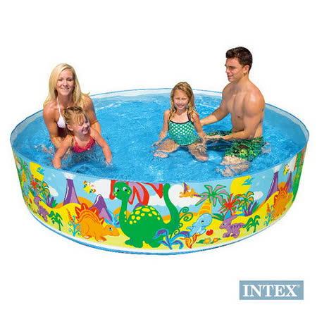 【INTEX】免充氣幼童戲水游泳池(直徑244cm) 圖案隨機出貨