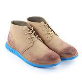 SNAIL蝸牛 型男時尚麂皮牛津風格低筒沙漠靴休閒鞋-卡其色