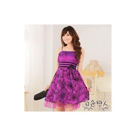 【白色戀人中大尺碼】紫色植絨花高腰細肩帶小禮服