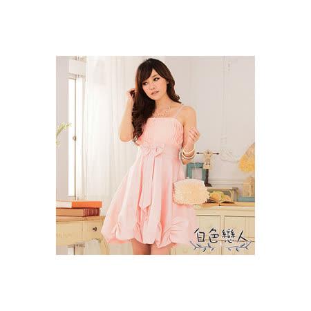 【白色戀人中大尺碼】粉色唯美壓褶收腰燈籠裙小禮服