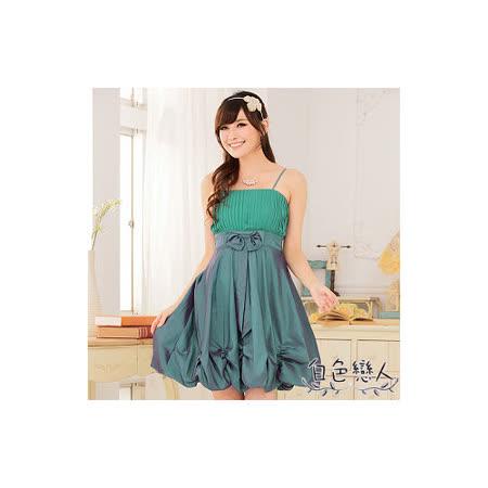 【白色戀人中大尺碼】綠色唯美壓褶收腰燈籠裙小禮服