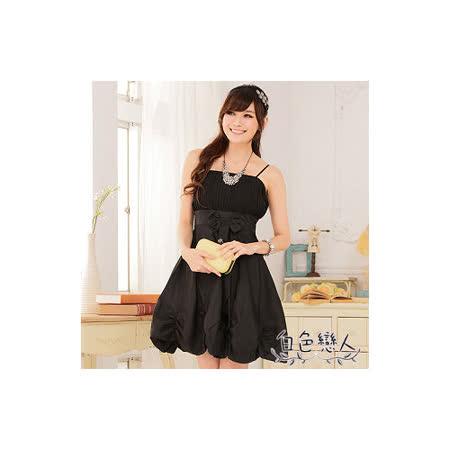 【白色戀人中大尺碼】黑色唯美壓褶收腰燈籠裙小禮服