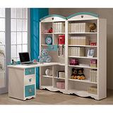 愛妮斯粉藍L型多功能書桌(有抽)