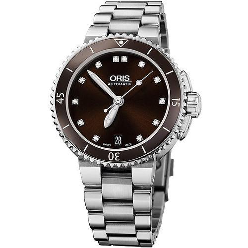 Oris Aquis 潛水真鑽陶瓷機械女錶~酒紅銀 733.7652.41.92MB