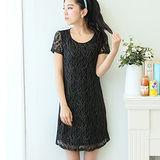 【麗質達人中大碼】3097蕾絲拼接連衣裙(黑色)
