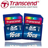 Transcend創見 SDHC 16GB UHS-1 Class10 高速記憶卡 -二入組