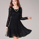 【麗質達人中大碼】2120蕾絲修身洋裝(黑色)