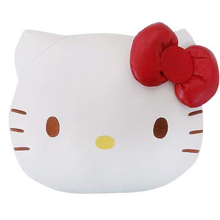 【享夢城堡】HELLO KITTY 經典皮革系列-頭型抱枕
