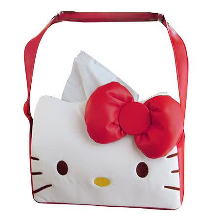 【享夢城堡】HELLO KITTY 經典皮革系列-面紙盒掛袋