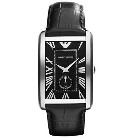 ARMANI 爵士时尚经典小秒针腕表-黑 AR1604