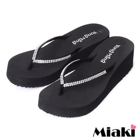 【Miaki】MIT 經典鑲鑽厚底人字拖鞋涼鞋 ( 白鑽 )