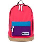 OUTDOOR 創意拼貼三色後背包-螢光粉紅