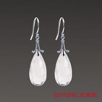 石頭記 精靈之舞-晶瑩白水晶耳環