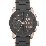 DIESEL 忍者戰將時尚計時腕錶-灰黑/玫塊金 DZ5307