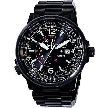 CITIZEN 光動能航空飛行IP黑腕錶 BJ7019-62E
