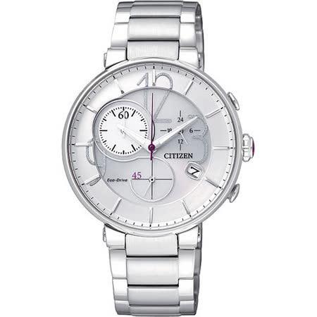 CITIZEN Eco-Drive 完美時尚趣味計時腕錶-白 FB1200-51A