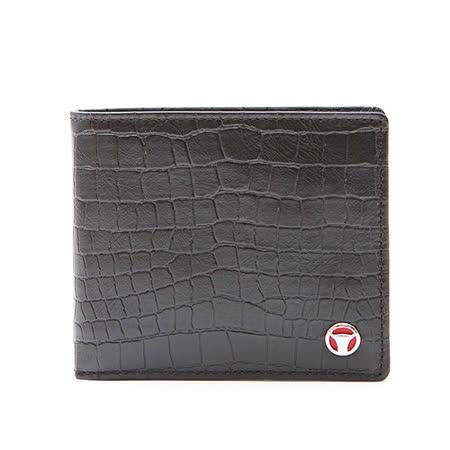 德國OFFERMANN 真皮鱷魚壓紋短夾-黑色