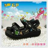 【G.P】阿亮代言 ~新潮花系列(35-39)尺碼女中底涼鞋G3645W-10(黑色)共二色