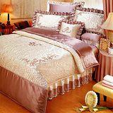 【范倫鐵諾 斯維諾#晶璨風華】雙人絲緞七件式床罩組(#米咖73)