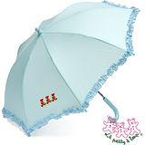 三隻小熊 格子花邊兒童自動傘(水藍)