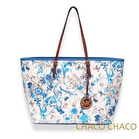 【CHACO韓國】韓製Flower花語寄情購物金屬吊牌水餃包3351F*藍色