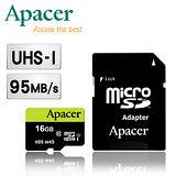 Apacer宇瞻 16GB microSDHC UHS-I Class10  95MB/s 記憶卡(附轉卡)