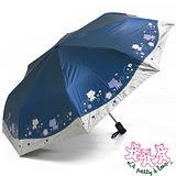 三隻小熊 花園愛心貓自動開收三折傘 (深藍)