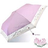 三隻小熊 卡通小屋銀膠輕量三折傘(粉紫)