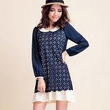 【麗質達人中大碼】835太陽花領口撞色連衣裙(藍色)