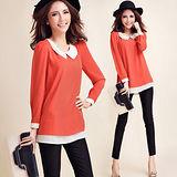 【麗質達人中大碼】837雪紡麻撞色假兩件上衣(橙紅色)